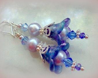Hand Painted Earrings, Hand Made Lucite Earrings, Freshwater Pearl Earrings, Vintage Style Earrings, Lavender Pearl Earrings, Lilac and Blue