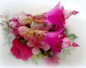 Bright Pink Earrings, Flower Earrings, Victorian Earrings, Hand Painted Earrings, Earrings, Pink Earrings, Bridal Earrings, Boho Earrings