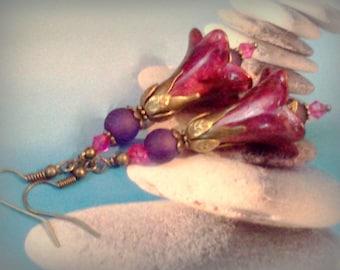 Lucite Earrings, Hand Painted Earrings, Boho Earrings, Flower Earrings, Hand Crafted Earrings,  Garnet Red Earrings, Hand Crafted Earrings