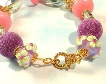 Starfish Beachy Bracelet, Beach Jewelry, Beach Theme Bracelet, Purple Pink Bracelet, Hand Crafted Bracelet, Handmade Bracelet,Lampwork Beads