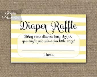 Yellow Diaper Raffle Tickets - Yellow Baby Shower Game - Printable Yellow White Stripe Raffle Tickets - Baby Diaper Shower - DSY