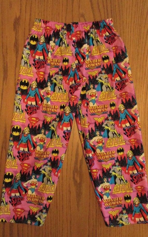 Supergirl pajama cotton pants / elastic waste / 6 mon to 14 child