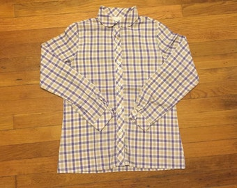 Vintage 70s Plaid Peter Pan Collar Shirt