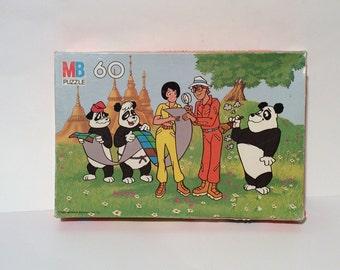 Vintage 1980s PANDAMONIUM! 60 piece jigsaw puzzle, complete--Cartoon Pandas!