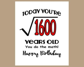 40th Birthday Card - Geek Birthday Card - 1977 Birthday Card - Milestone Birthday - Math Birthday Card - Equation Birthday Card