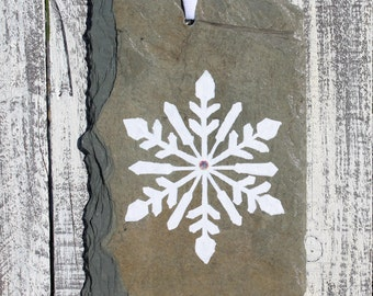Slate Snowflake Ornament, Hand painted Upcycled Reclaimed Barn Roof Slate, OOAK Gift, Unique Gift, Christmas Gift Idea, Holiday Gift - SLSN6