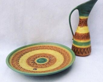 Set of 1970s vintage Dümler u Breiden Höhr Germany vase and bowl 29cm