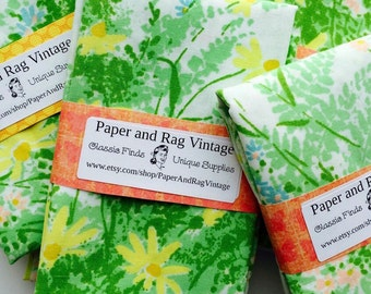 70s FQ WILDFLOWERS:pink, blue, yellow and green floral, One fat quarter cut from vintage bed sheet fabric 1970s