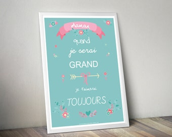 A3 poster - Poster poster MOM - text - birthday, mother's day, gift, surprise, when I grow - B