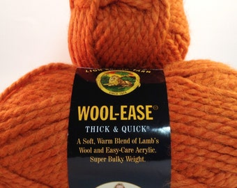 Lion Brand Yarn Wool-Ease Thick & Quick in color Pumpkin, Lot of 3 skeins