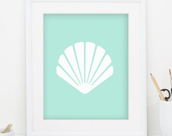 Seashell Print Sea Shell Print Teal Wall Decor Seashell Art Sea Shell Art Nautical Print Nautical Decor Nautical Nursery Decor 0090
