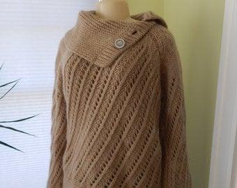 SALE! Cowl Neck Fisherman Sweater / Ireland / Wool / Large