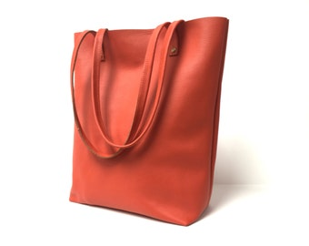 Leather tote bag in orange // Simple market tote bag
