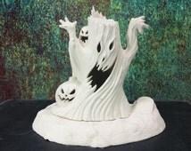 Haunted Tree Ghost Jack O' Lantern Lamp Graveyard Base Ready To Paint Unfinished Ceramic Bisque Vinatge Halloween Lamp Light Up Decoration