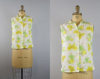 Butterfly Orchard Blouse / 50s Blouse / 1950s Blouse