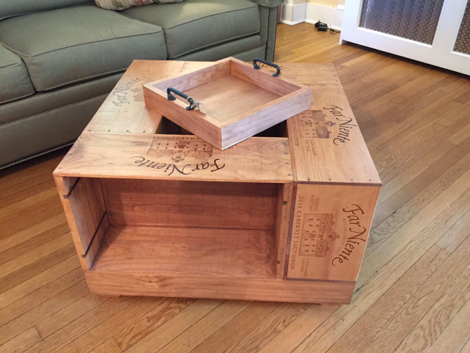 Wine crate coffee table for Coffee table from wooden crates