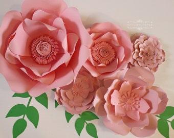 Large pink paper flowers - Pink Paper flower centerpiece - Paper flower wall - Paper flower backdrop - Nursery decor - Reception decor
