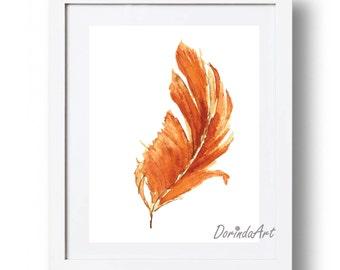 Orange Feather Print Watercolor Feather printable Orange Home decor Orange Nursery Art Fall decor Autumn Print 5x7 8x10 11x14 16x20 DOWNLOAD