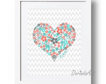 Coral and turquoise gray Heart print 5x7 8x10 11x14 16x20 Coral Flower heart printable DOWNLOAD Nursery heart wall decor Floral Gray Chevron