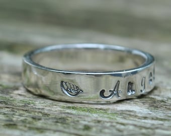 Baby Loss Infant Loss Memorial Personalised Sterling Silver Ring Jewellery Jewelry Angel Wing Pregnancy Mothers Mum Miscarriage Hand stamped