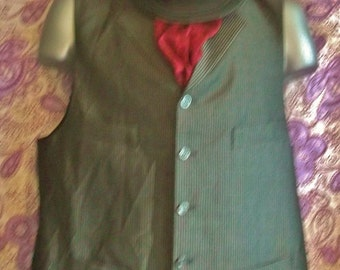"Steampunk/True Vintage mens' Waistcoat-double lapel.Silver&blacksparkly pinstripe.Size42""chest"