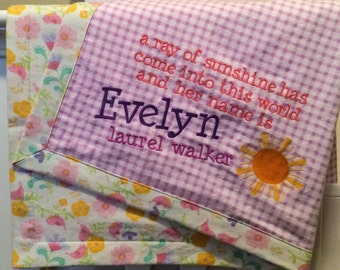 Ray of Sunshine Baby Blanket - name required