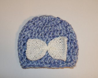Blue baby beanie with white bow
