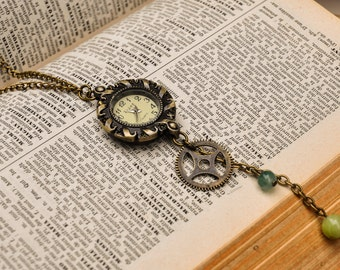 Steampunk Watch Pendant Necklace, Steampunk Jewelry, Jewelry Watch, Gothic Pendant, Watch Parts, Industrial Pendant, Handmade, Steampunk