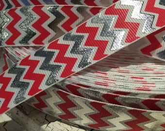 """3 yards 7/8"""" Chevron Zig zag Christmas red silver foil and white grosgrain ribbon"""