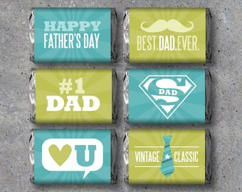 Happy Father's Day Mini Candy Bar Wrappers – Instant Download – Printable DIY Fathers Day Candy Wrappers – Cool Gift Ideas - #1 Dad SuperDad