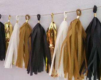 New Year's Eve, Black and Gold Tissue Paper Tassel Garland, Party Decorations, Tassel Garland, Party Decorations, New Year's Day, New Years