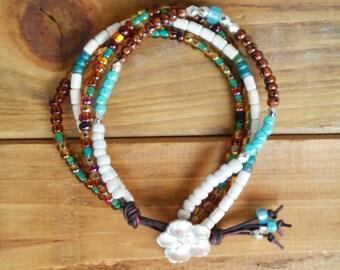 Bracelet Beaded Four Srand Handmade Brown Bone Turquoise Silver Leather Cord Button Boho Beach Hippie
