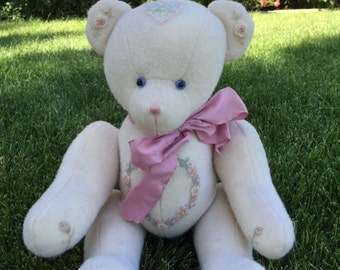Hand-Crafter Wool Embroidered Teddy bear