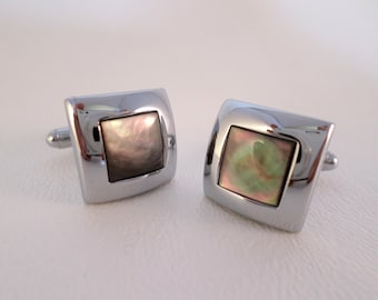 Vintage Cuff Links, Square Silvertone and Mother of Pearl, Mens accessories, Gift for Him, Christmas Birthday Anniversary gift, ID 399282217