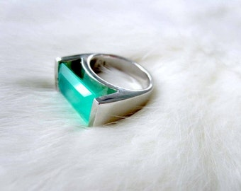 Chrysoprase Ring Sterling Silver Rhodium
