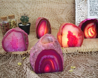 Pink Agate Candle Holder - Crystal Decor- Metaphysical - Chakra Crystals (HW4-09)