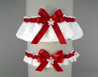 Wedding Garter Set Scarlet Red on White or Ivory Lace & Satin with Bow and Butterfly Charms (May also be purchased individually) DX/BF