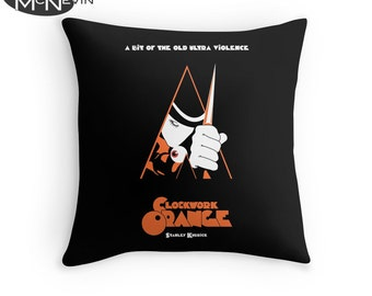 A CLOCKWORK ORANGE Movie Poster Throw Pillow, Home Decor Geek Art
