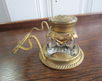 Antique Gold Colored and Glass Ink Well With Pen Holder