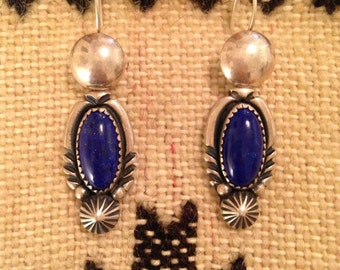 SUMMER SALE!  Exquisite Vintage Navajo Lapis Lazuli & Sterling Silver Earrings