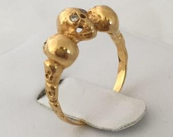 Maison Roselavy 14k Gold Ring with Diamonds Engagement Ring Gold Wedding Ring Momento Mori Skull Ring