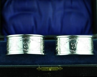 Antique 1912 sterling silver napkin rings set of 2 two box Chester solid vanity gift