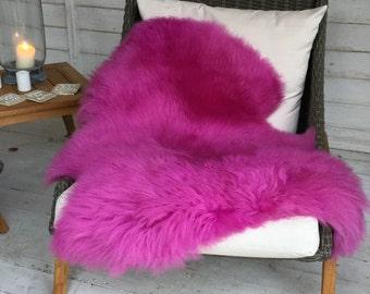 PINK cerise pink luxury British sheepskin in bright pink fuschia