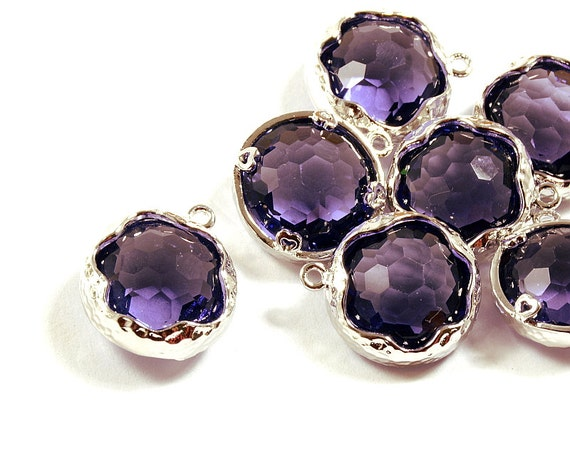 Purple Glass Pendant, Round Purple Pendant, Purple Lilac Color with Hammered Finished Frame in Anti-tarnish Rhodium Plating  - 2 pcs/ order