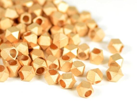 4.5mm Metal Spacer Bead, Matte Rose Gold Faceted Spacer Beads, Satin Rose Gold Beads, Large Hole Pink Metal Beads - 25 pcs/ order