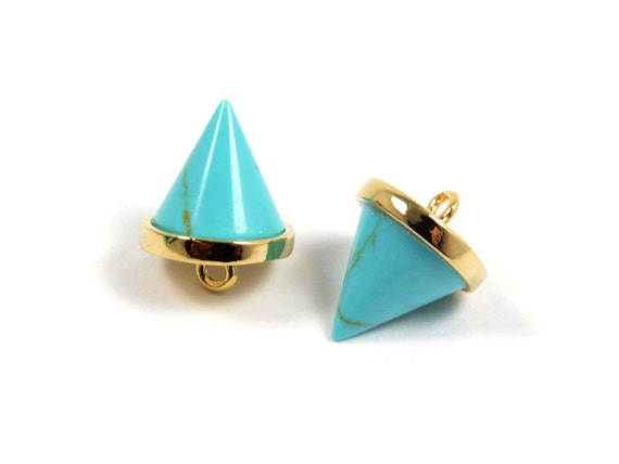 Gemstone Spike Charm/ Pointed Pendant with Turquoise Stone in Anti-tarnish Gold Plating  - 2 pcs/ order