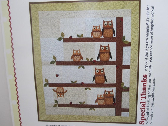Night Owl Quilt Pattern by Buttons & Bees 2011 Applique w/ Possums, Wool Pincushions, Fireflies, Ladybugs