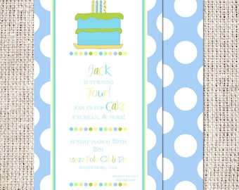 Birthday Party Invitation - Birthday Cake - Boy