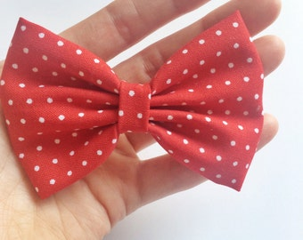 Red and white dot fabric hair bow