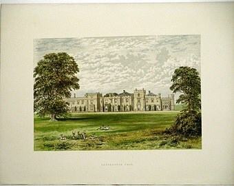 Panshanger Park (Near Hertford) Hertfordshire, England * 1880 Vintage Antique Castle Lithograph * Landscape Beautiful!